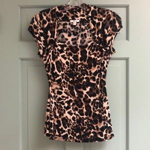 Cache' Animal Print Stretchy Square Neck Top